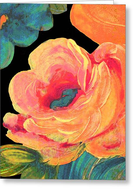 Greeting Card featuring the painting Vintage Rose On Black by Lisa Weedn