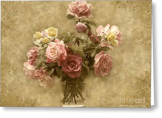 Vintage Roses Greeting Card by Cheryl Davis