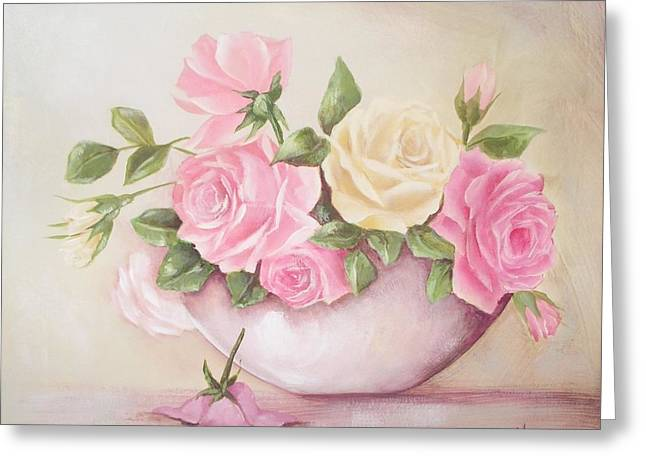 Vintage Roses Shabby Chic Roses Painting Print Greeting Card