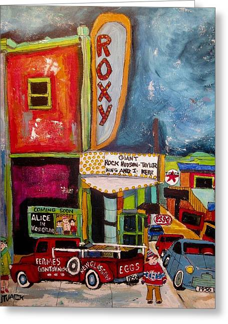 Vintage Roxy Theater St. Agathe Winter 1956 Greeting Card by Michael Litvack