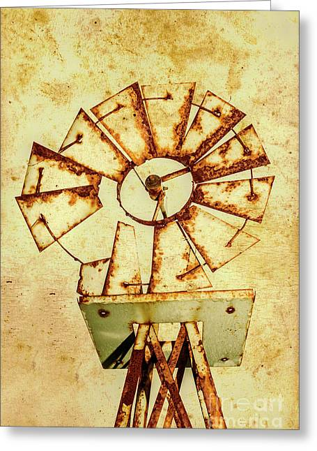 Vintage Rusty Farm Windmill Greeting Card