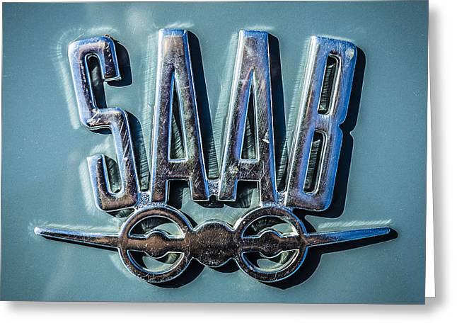 Vintage Saab Car Emblem Logo Greeting Card