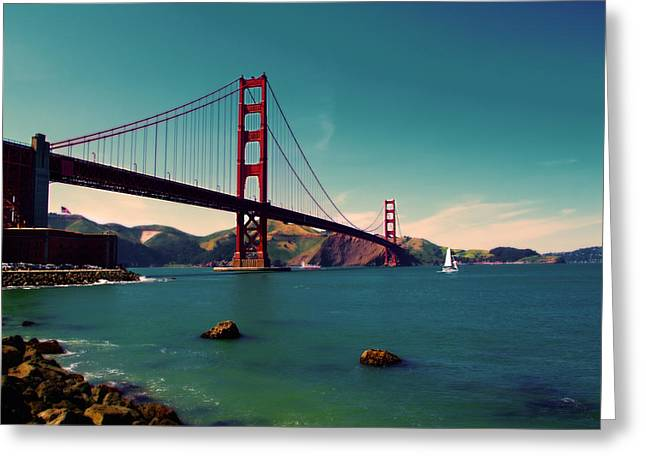 Sfo Greeting Cards - Vintage San Francisco Greeting Card by Niels Nielsen