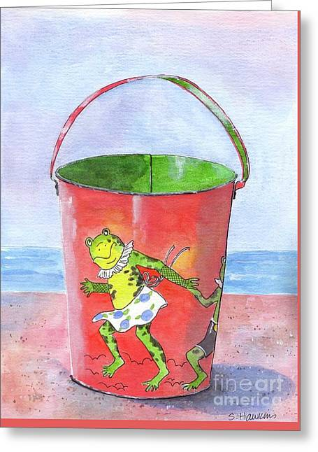 Vintage Sand Pail Dancing Frogs Greeting Card by Sheryl Heatherly Hawkins