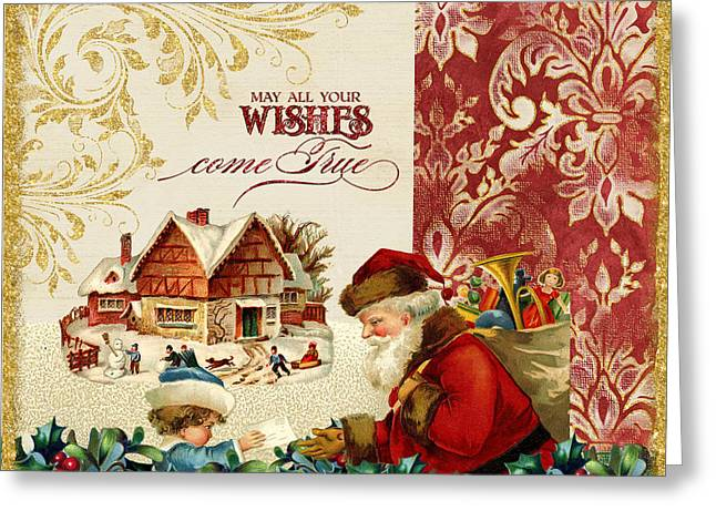 Vintage Santa Claus - Glittering Christmas 4 Greeting Card by Audrey Jeanne Roberts