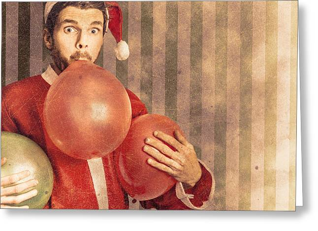 Vintage Santa Preparing For Christmas Party Greeting Card by Jorgo Photography - Wall Art Gallery