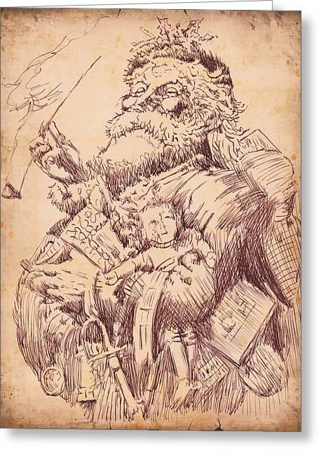 Vintage Santa Greeting Card by Robbi  Musser