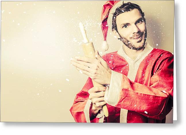 Vintage Santas Helper Baking Up Christmas Food Greeting Card by Jorgo Photography - Wall Art Gallery