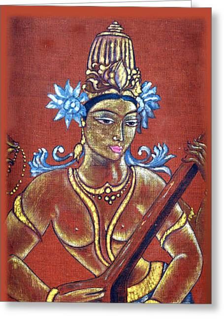 Vintage Saraswati - Goddess Of Wisdom Greeting Card by Harsh Malik