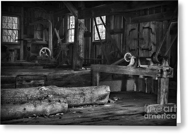 Vintage Sawmill In Black And White Greeting Card by Paul Ward