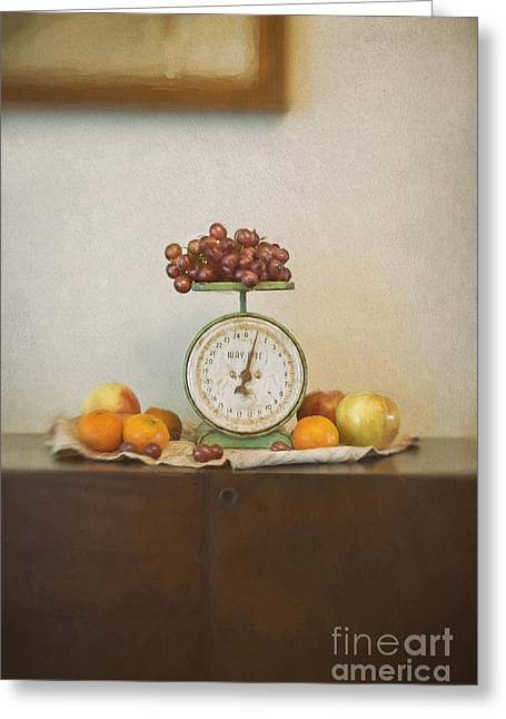 Vintage Scale And Fruits Painting Greeting Card by Susan Gary