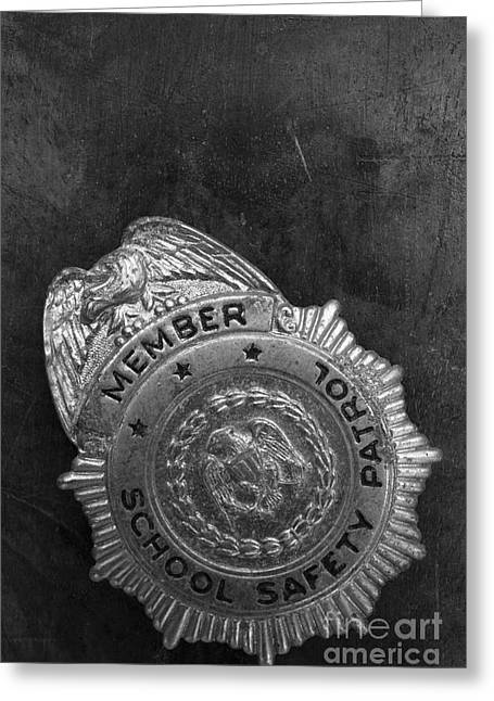 Vintage School Safety Patrol Badge Greeting Card by Edward Fielding