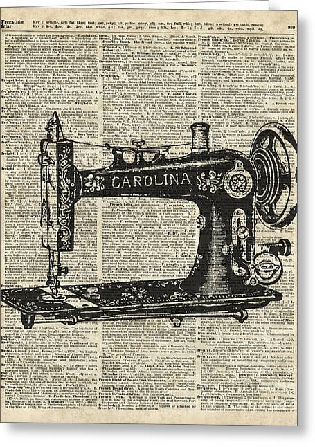 Vintage Sewing Machine Greeting Card by Jacob Kuch