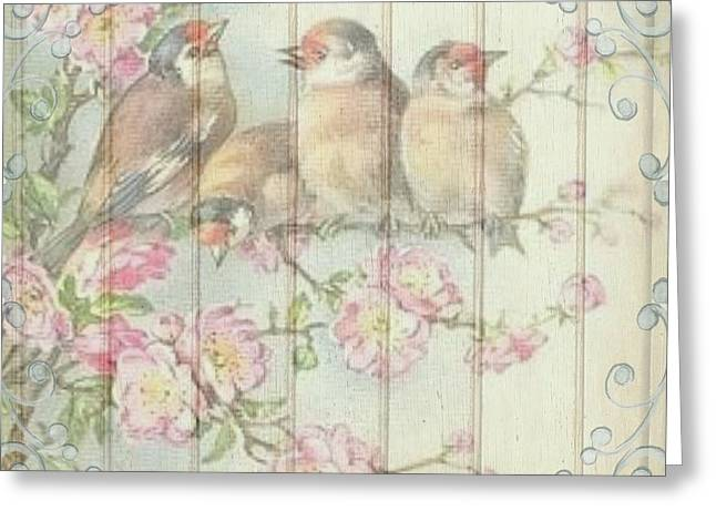 Vintage Shabby Chic Floral Faded Birds Design Greeting Card