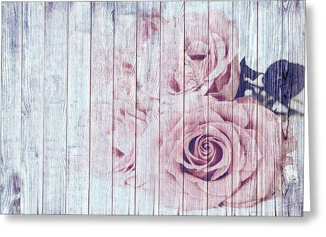 Vintage Shabby Chic Dusky Pink Roses On Blue Wood Effect Background Greeting Card