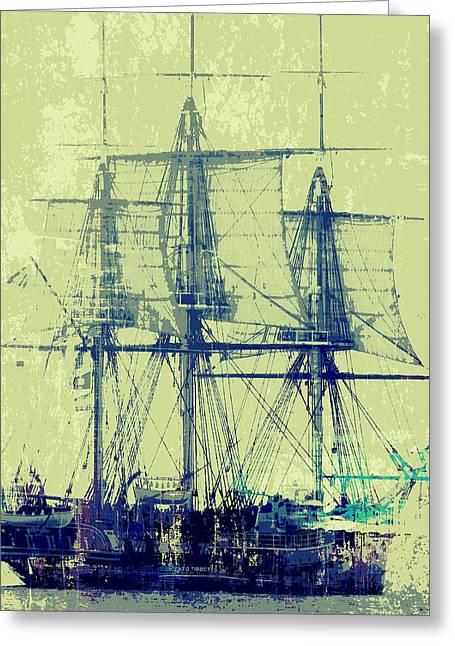 Vintage Ship V1 Greeting Card by Brandi Fitzgerald