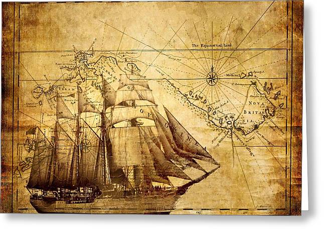 Greeting Card featuring the mixed media Vintage Ship Map by Lucia Sirna