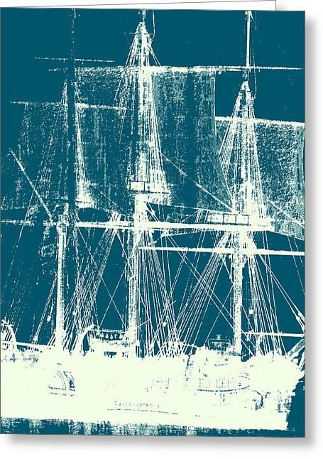 Vintage Ship V2 Greeting Card by Brandi Fitzgerald