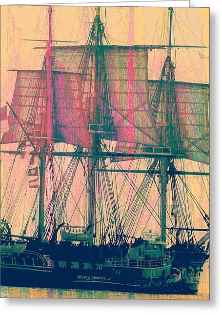 Vintage Ship V3 Greeting Card by Brandi Fitzgerald