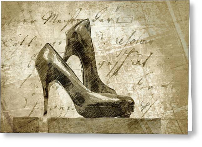 Vintage Shoes Greeting Card by Georgiana Romanovna