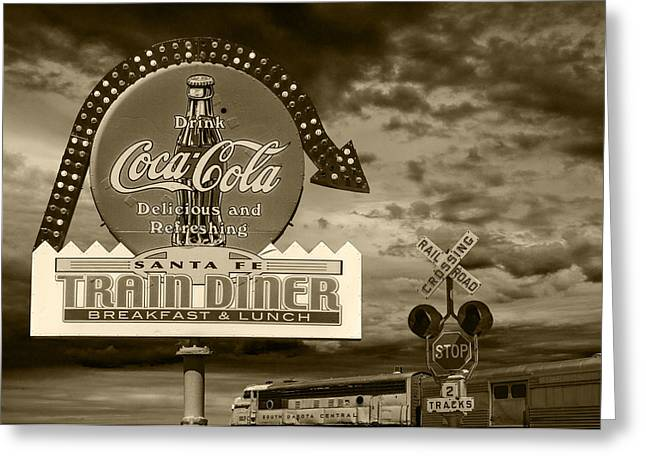 Vintage Sign In Sepia For A Classic Train Diner Greeting Card by Randall Nyhof