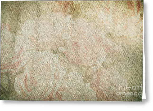 Vintage Silk Cotton Roses Texture Greeting Card