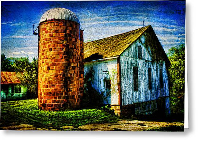 Vintage Silo Greeting Card by Trudy Wilkerson