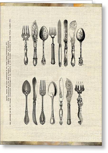Greeting Card featuring the drawing Vintage Silverware by Ariadna De Raadt
