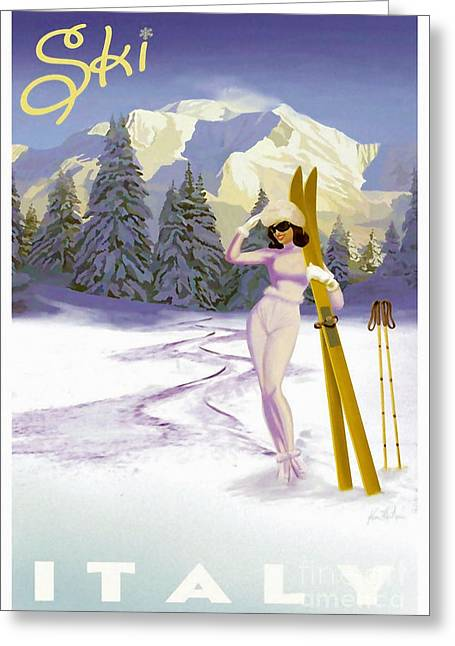 Vintage Skiing Glamour Greeting Card by Mindy Sommers