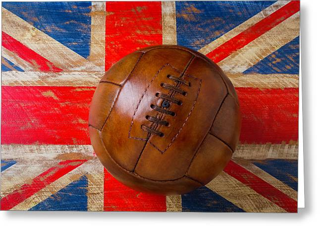 Vintage Soccer Ball British Flag Greeting Card by Garry Gay
