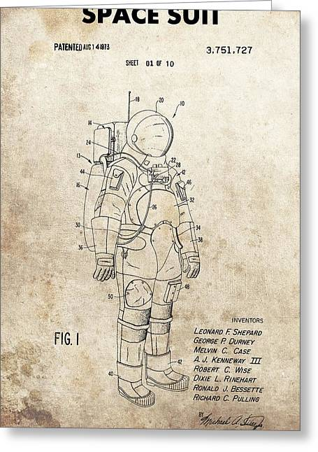Vintage Space Suit Patent Greeting Card by Dan Sproul