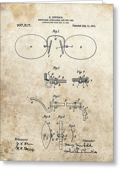 Vintage Spectacles Patent Greeting Card by Dan Sproul
