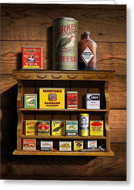 Vintage Spice Tins 2 - Nostalgic Spice Rack - Americana Kitchen Art Decor  Greeting Card by Walt Curlee