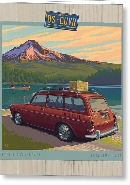 Vintage Squareback At Trillium Lake Greeting Card by Mitch Frey