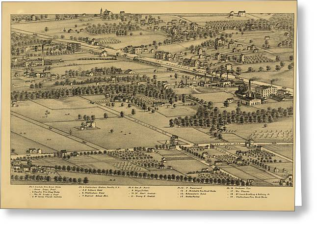 Vintage St Louis Map - 1875 Greeting Card by Camille Dry