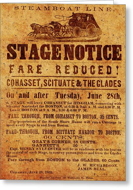 Vintage Stagecoach Poster 1859 Greeting Card