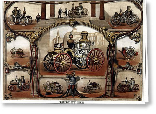 Vintage Steam Fire Engine Catalog C. 1885 Greeting Card by Daniel Hagerman
