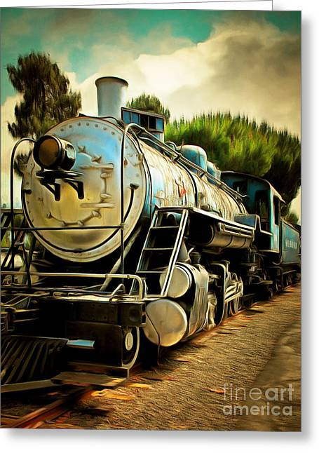 Vintage Steam Locomotive 5d29138brun Greeting Card