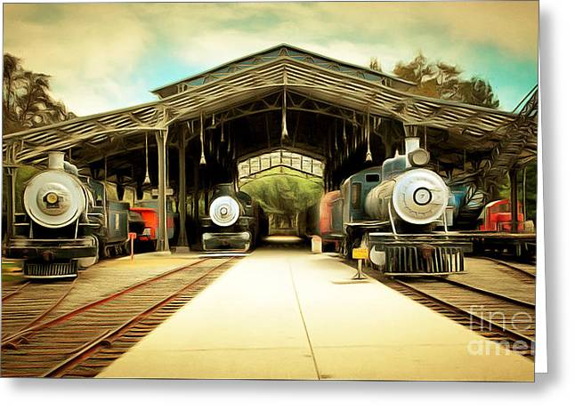 Vintage Steam Locomotive 5d29186brun Greeting Card