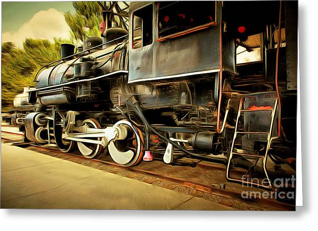 Vintage Steam Locomotive 5d29222brun Greeting Card