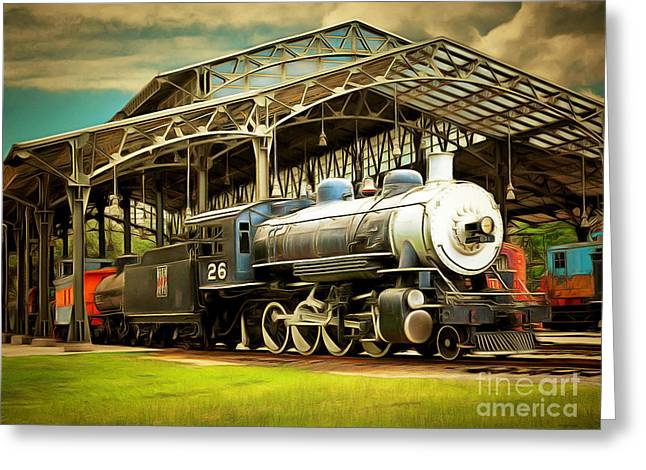 Vintage Steam Locomotive 5d29281brun Greeting Card by Home Decor