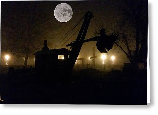 Vintage Steam Shovel Greeting Card by Michael Rucker