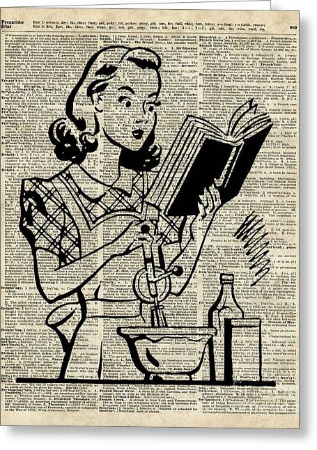 Vintage Stencil Of Cooking Girl Over Old Dictionary Book Page Greeting Card