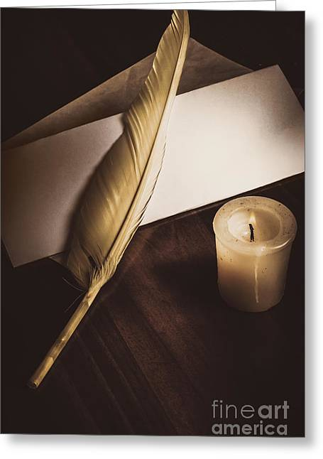 Vintage Still Life Quill Pen And Old Paper Greeting Card by Jorgo Photography - Wall Art Gallery