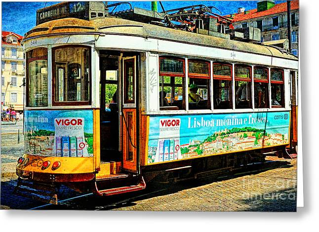 Vintage Street Tram In Lisbon Greeting Card
