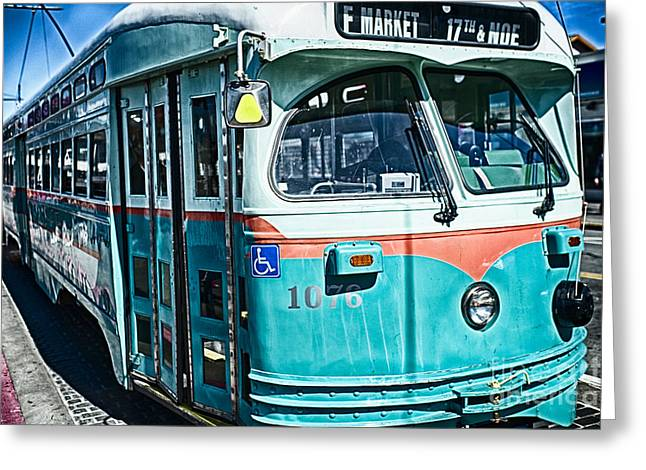Vintage Streetcar Of San Francisco Greeting Card by George Oze