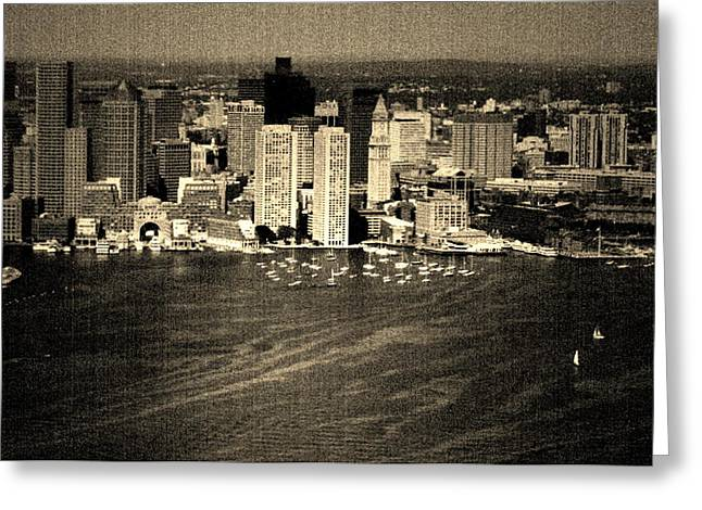 Vintage Style Boston Skyline Greeting Card by Marjorie Imbeau
