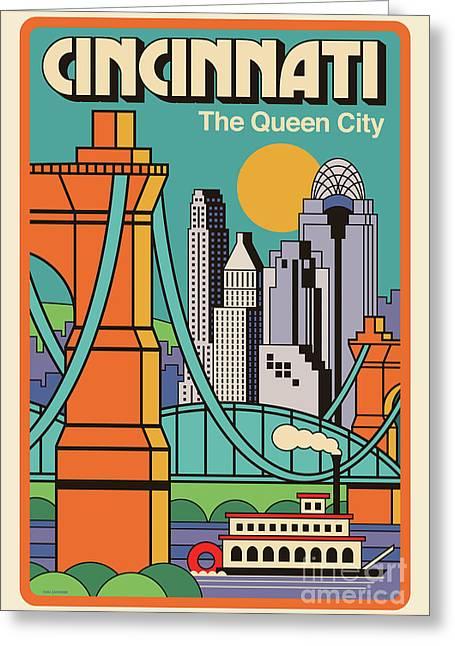 Vintage Style Cincinnati Travel Poster Greeting Card
