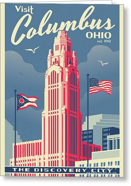 Vintage Style Columbus Travel Poster Greeting Card