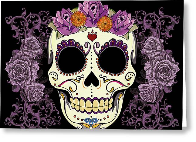 Vintage Sugar Skull And Roses Greeting Card